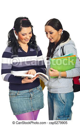 estudiantes, conversación, niñas, teniendo - csp5279905