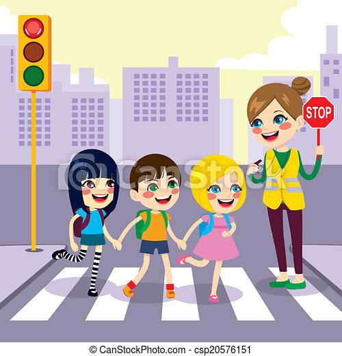 Estudiantes cruzando la calle - csp20576151