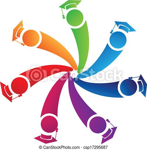 El trabajo en equipo se gradúa en el logo de los estudiantes - csp17295687
