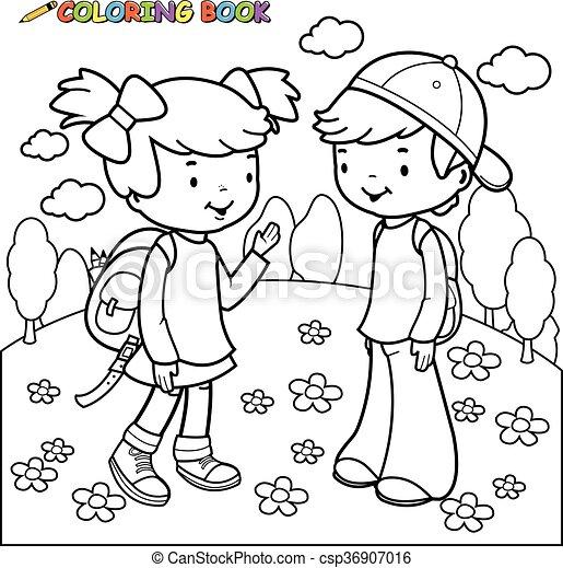 Estudiantes, niño, niña, libro colorear. Page., niño, colorido ...