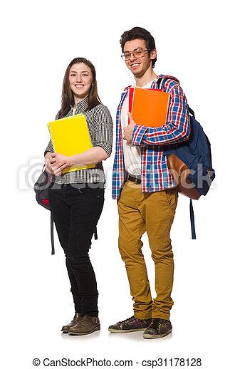 Un par de estudiantes aislados en blanco - csp31178128