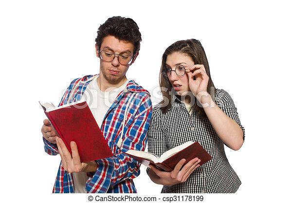 Un par de estudiantes aislados en blanco - csp31178199
