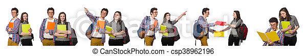 Un par de estudiantes aislados en blanco - csp38962196