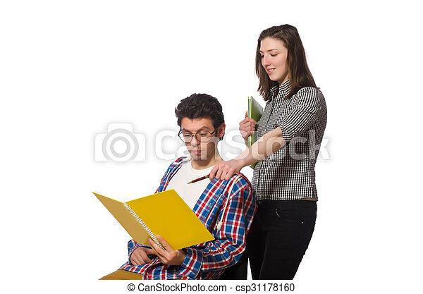Un par de estudiantes aislados en blanco - csp31178160