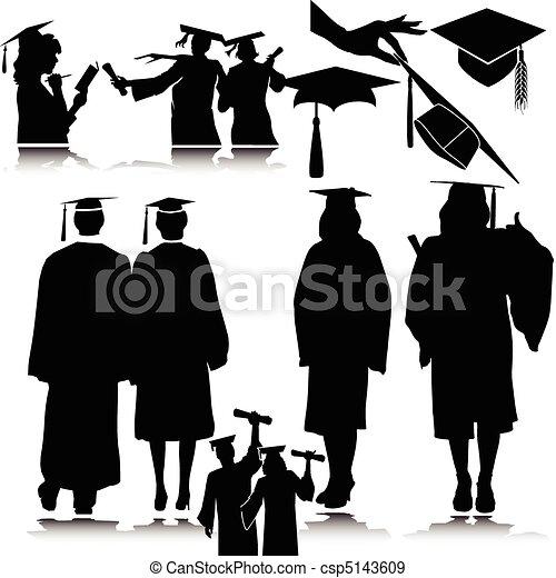 Los estudiantes vencen siluetas - csp5143609