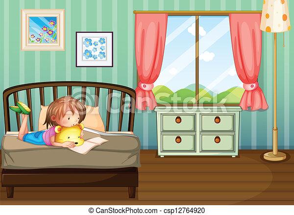 Ilustraci n estudiar ni a habitaci n ella ilustraci n for Habitacion dibujo