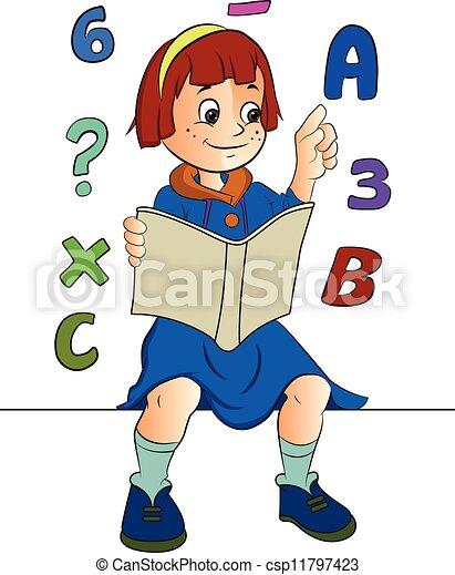 Estudiar, niña, ilustración, matemáticas Estudiar, niña