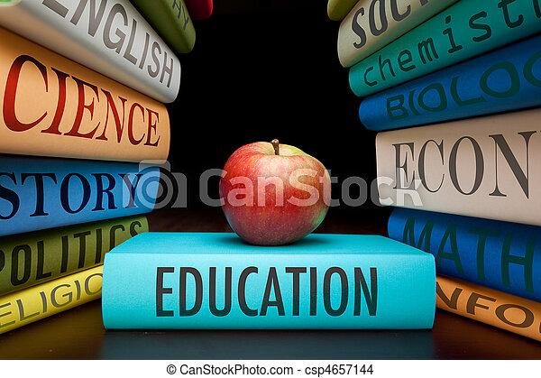 estudio, educación, libros, manzana - csp4657144
