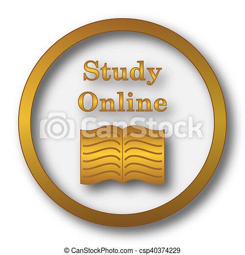 estudio, en línea, icono - csp40374229