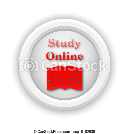 estudo, online, ícone - csp18182939
