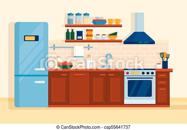 estufa, refrigerador, interior, hogar, muebles, tabla, cocina