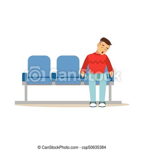 esvaziado, trem, ilustração, dormir, aeroporto, vetorial, estação, cadeira, ou, homem - csp50635384