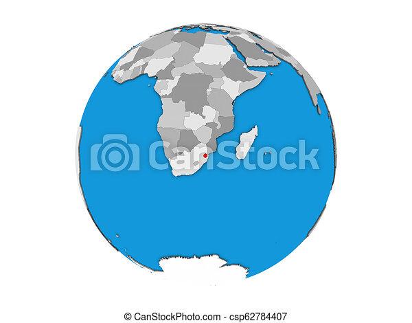 eSwatini on 3D globe isolated - csp62784407