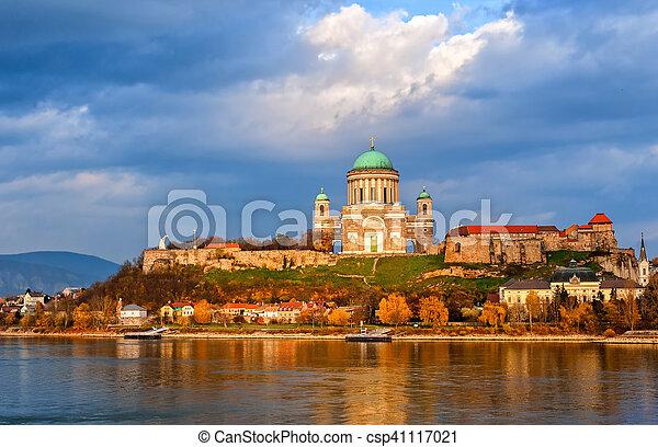 Esztergom Basilica on Danube River, Hungary - csp41117021