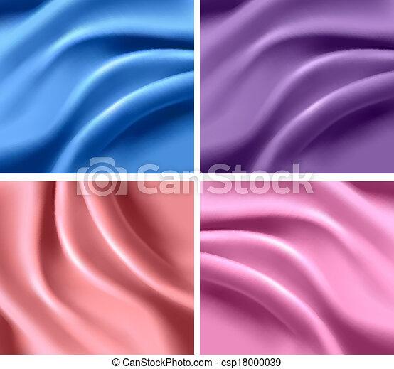 et of elegant colorful silk backgrounds. Vector illustration. - csp18000039