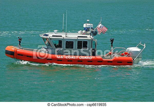 etats-unis, patrouille, garde, bateau, côte - csp6619935