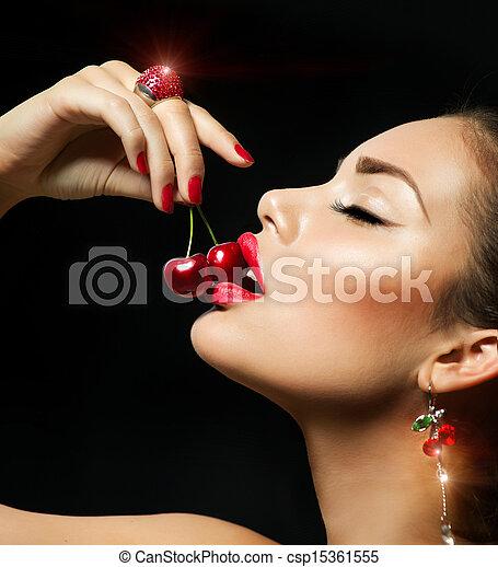 eten, rood, kers, cherry., sensueel, vrouw, lippen, sexy - csp15361555