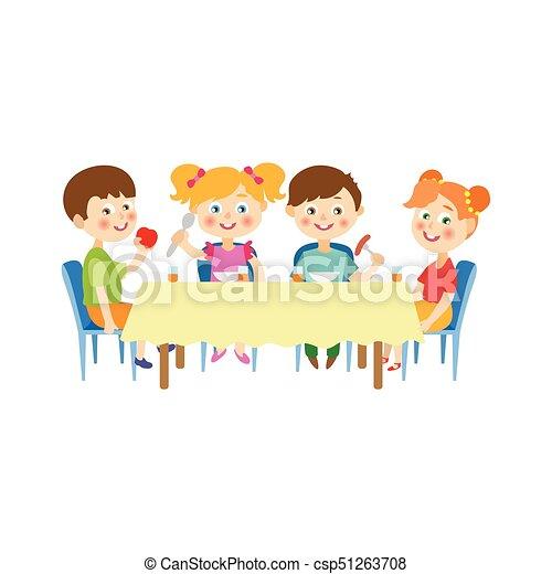 eten zittende kamp vector tafel kinderen zomer spoons tafel kinderen concept. Black Bedroom Furniture Sets. Home Design Ideas