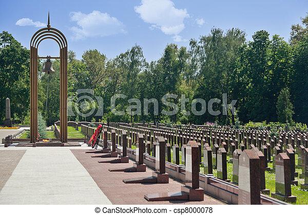 Eternal flame, belfry and obelisks at the Military Memorial of the Preobrazhenskoye cemetery. - csp8000078