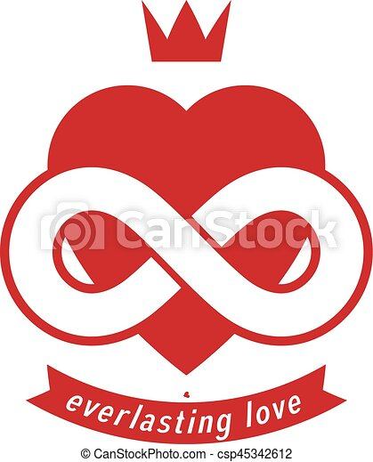 Eternal Love Conceptual Sign Vector Symbol Created With Infinity