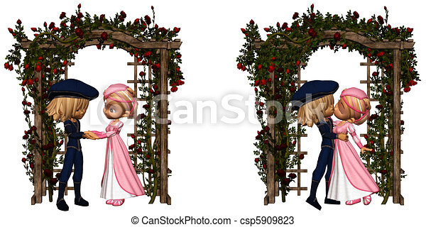 Eternal love. Romeo and juliet in the garden - isolated on ...