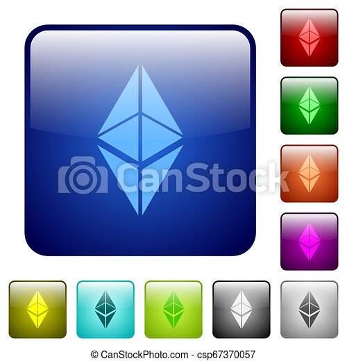 Ethereum classic digital cryptocurrency color square buttons - csp67370057