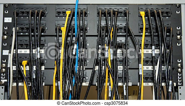 ethernet network patch panel a network patch panel with ethernet rh canstockphoto com Patch Panel Wiring Diagram ethernet patch panel wiring diagram