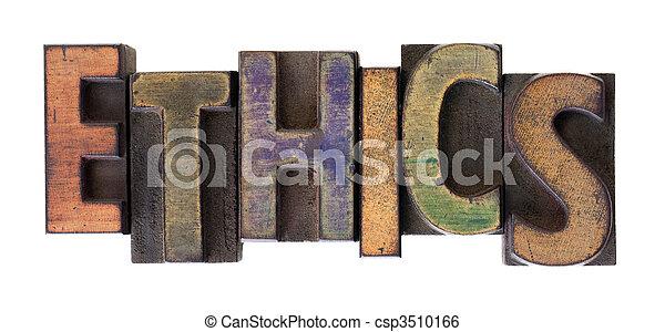 ethics word in vintage wooden letterpress type - csp3510166