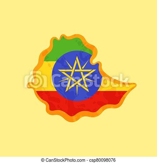 Ethiopia - Map colored with Ethiopian flag - csp80098076