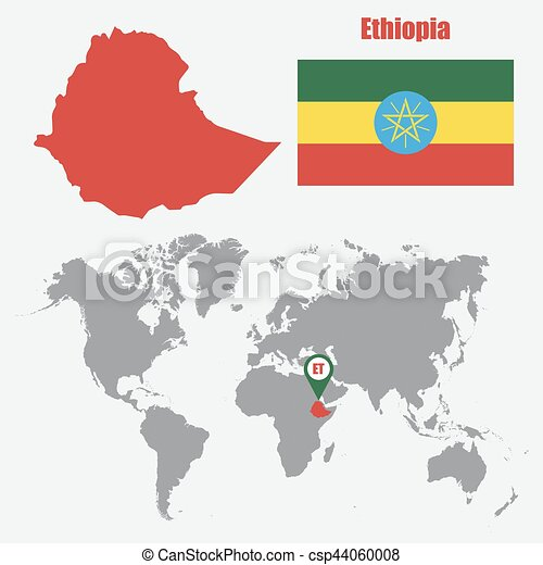 Ethiopia map on a world map with flag and map pointer vector ethiopia map on a world map with flag and map pointer vector illustration gumiabroncs Images