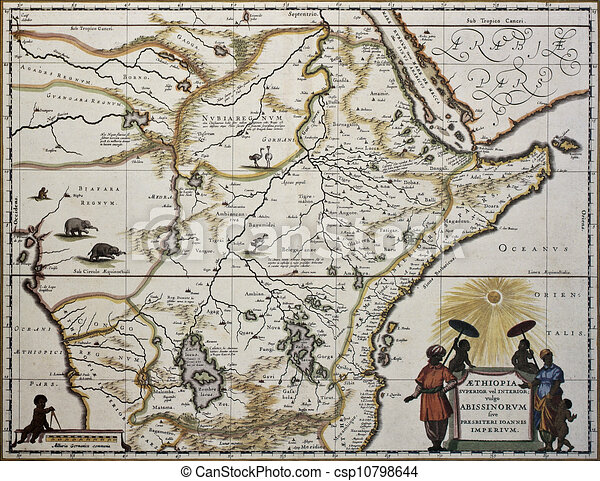 Ethiopia old map created by joan blaeu published in amsterdam 1650 ethiopia old map csp10798644 gumiabroncs Image collections
