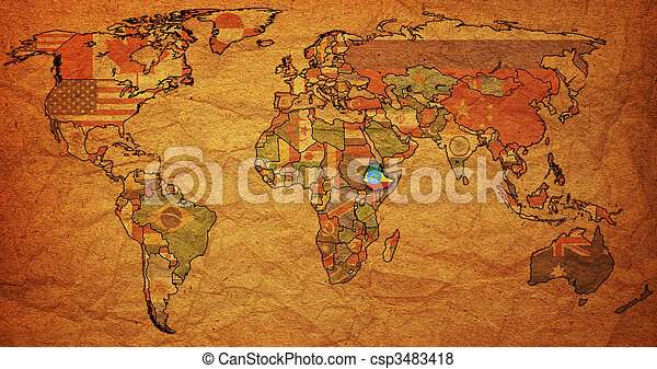 Ethiopia on world map old political map of world with flag of ethiopia ethiopia on world map csp3483418 gumiabroncs Images