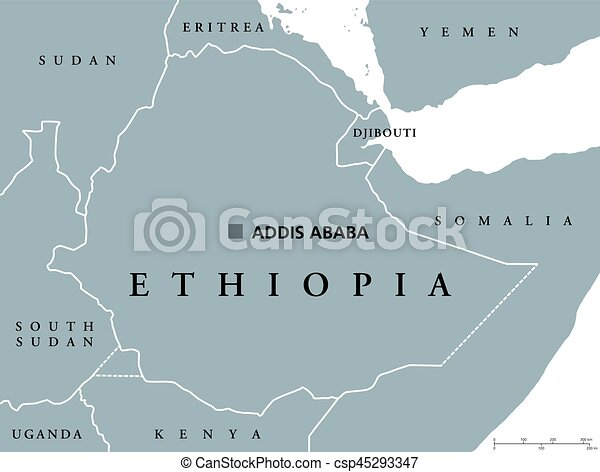 Ethiopia political map with capital addis ababa and borders eps