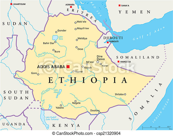 Ethiopia political map Political map of ethiopia with vector