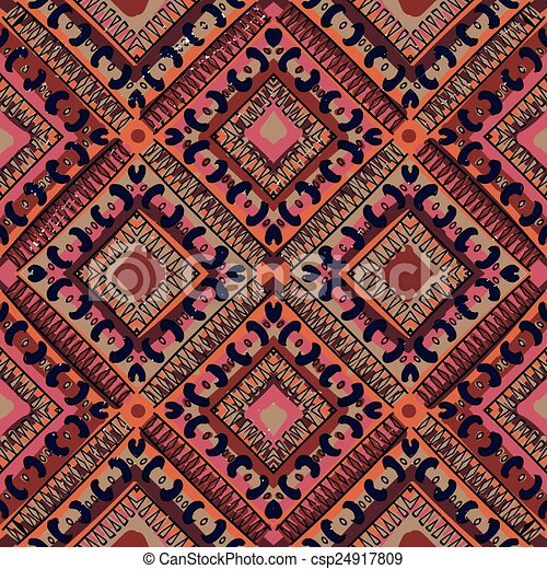 ethnic abstract hand-drawn seamless pattern - csp24917809