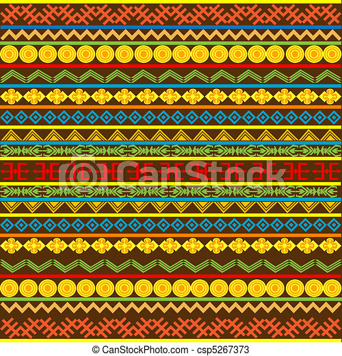 Ethnic African pattern with multicolored motifs - csp5267373