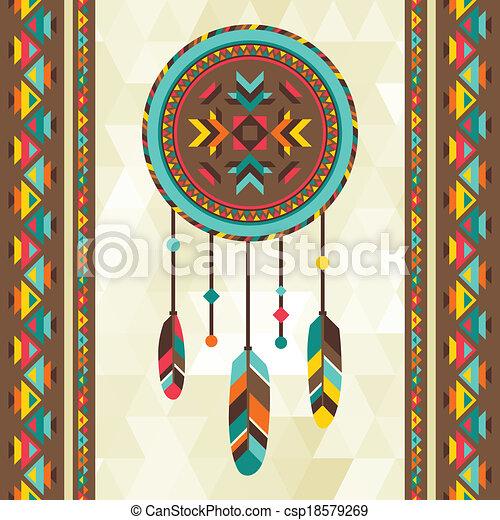 Ethnic background with dreamcatcher in navajo design. - csp18579269