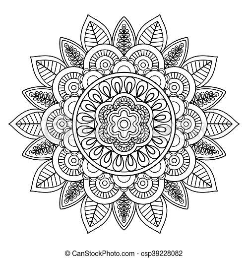 Ethnic Boho Doodle Floral Mandala Vector Illustration