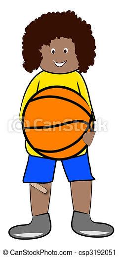 ethnic boy hanging on to basketball - illustration - csp3192051