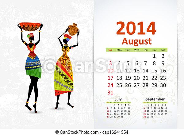 Ethnic Calendar 2014 august - csp16241354