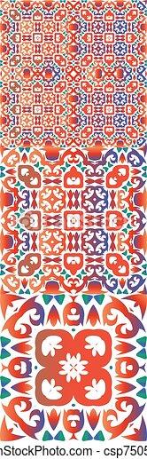 Ethnic ceramic tiles in mexican talavera. - csp75054487
