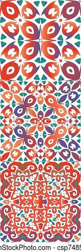 Ethnic ceramic tiles in mexican talavera. - csp74850709