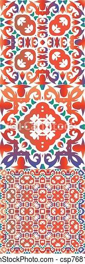 Ethnic ceramic tiles in mexican talavera. - csp76817009