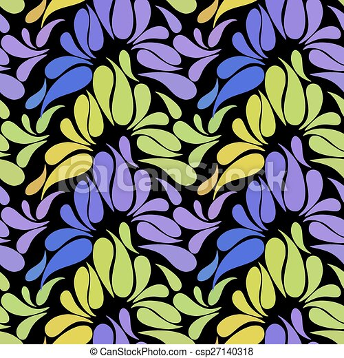 Ethnic colorful floral hand drawn doodle slyle seamless pattern - csp27140318