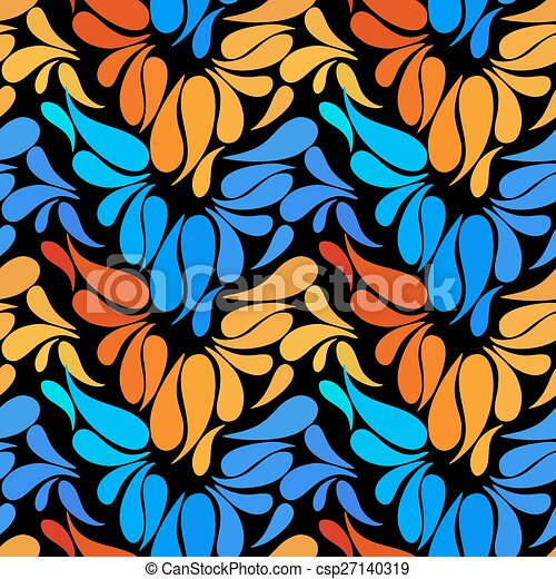 Ethnic colorful floral hand drawn doodle slyle seamless pattern - csp27140319