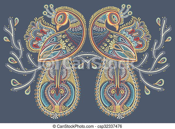 ethnic folk art of two peacock bird with flowering branch design