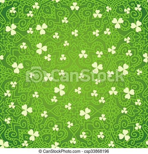 Ethnic green clover backgrounds - csp33868196