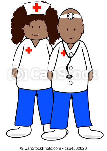 ethnic male doctor and female nurse stock illustration search rh canstockphoto com male nurse clipart black and white male nurse clipart free