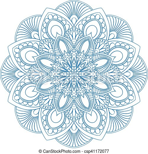 Ethnic Mandala Symbol For Coloring Book Anti Stress Therapy Pattern Vector Abstract Round Floral Ornament