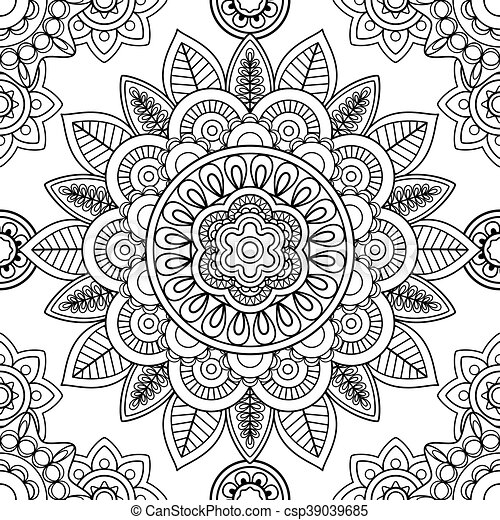 Ethnic seamless pattern, coloring pages template - csp39039685
